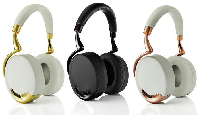 Grey/Gold, Grey/Copper and Black Parrot Zik Gold Collection Headphones by Philippe Starck