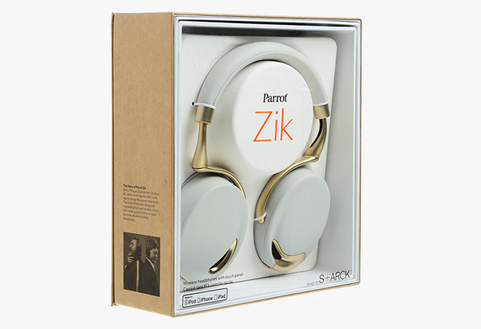 Packaging of the Parrot Zik Gold Collection Headphones by Philippe Starck