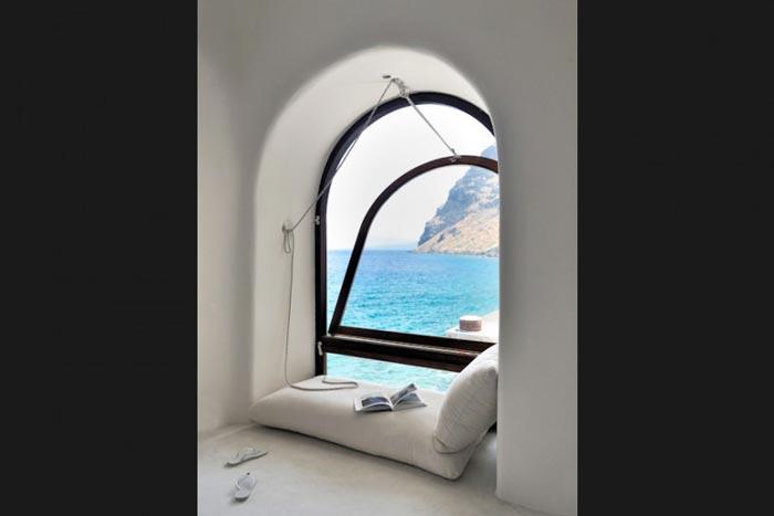 Window at Perivolas Hideaway in Thirassia, Santorini