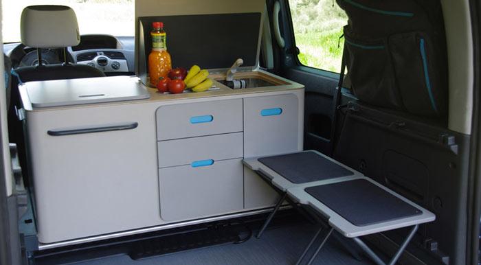 Renault kangoo camper travelpack by ovicuo jebiga for Camper van kitchen units