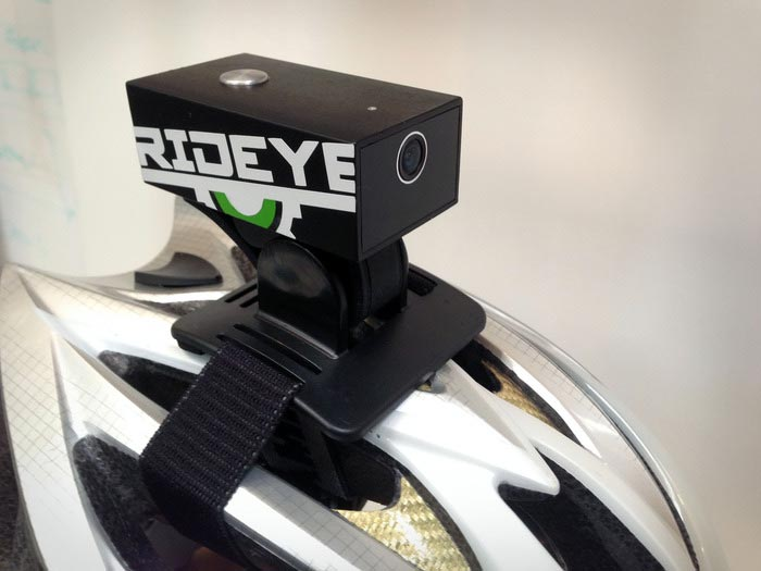 Rideye Camera attached to a bicycle helmet