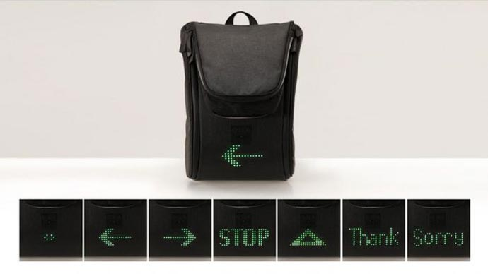 Traffic signs, emoticons, stop and emergency signals of the SEIL Bag - An LED Backpack for Cyclists