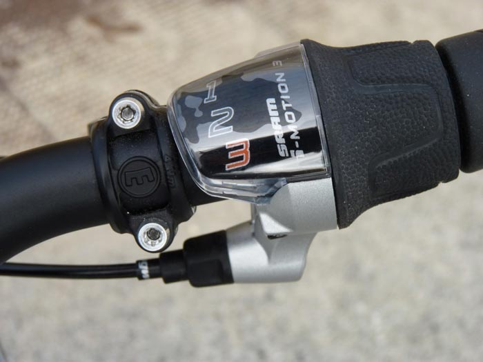 Bicycle gear shifter on the Smart ebike Electric Bicycle