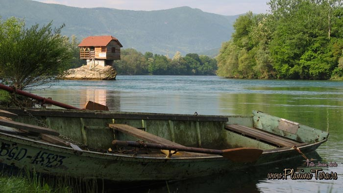 Tiny Wooden House on Drina River in Serbia