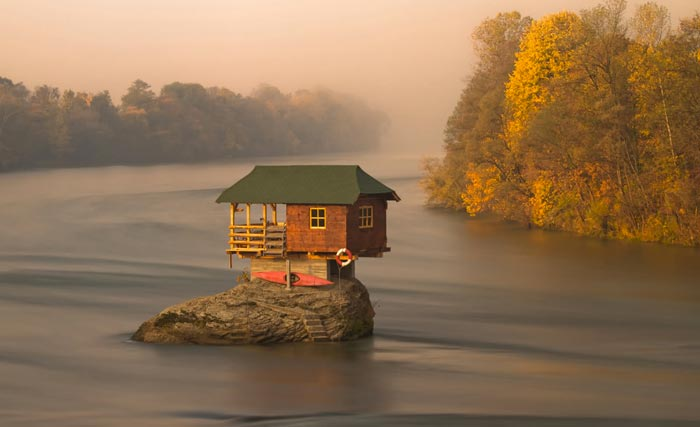 Tiny Wooden House on Drina River in Serbia on Jebiga