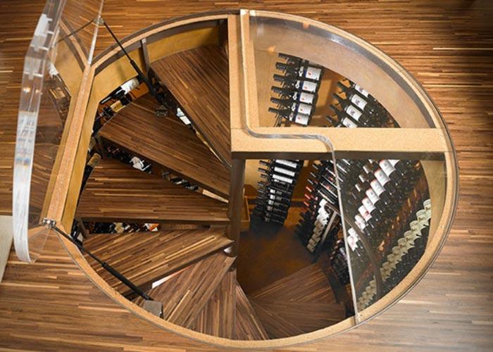 Wood trim Underground Spiral Wine Cellar by Spiral Cellars Ltd