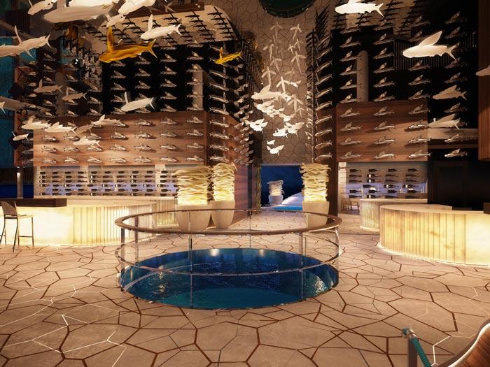 Interior design of the bar at Velaa Private Island Resort in The Maldives