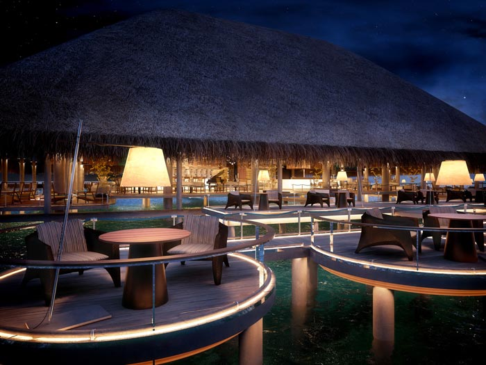Outdoor terrace at the Velaa Private Island Resort in The Maldives