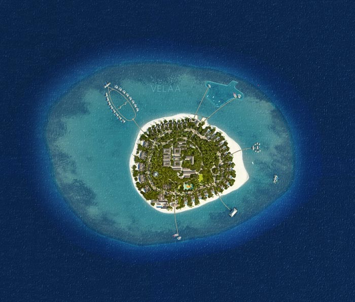 Aerial view of Velaa Private Island Resort in The Maldives