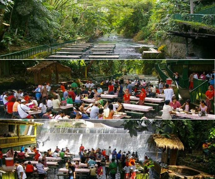People eating at the Villa Escudero Resort Waterfall Restaurant in the Philippines