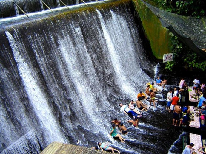 Waterfall at the Villa Escudero Resort Waterfall Restaurant in the Philippines