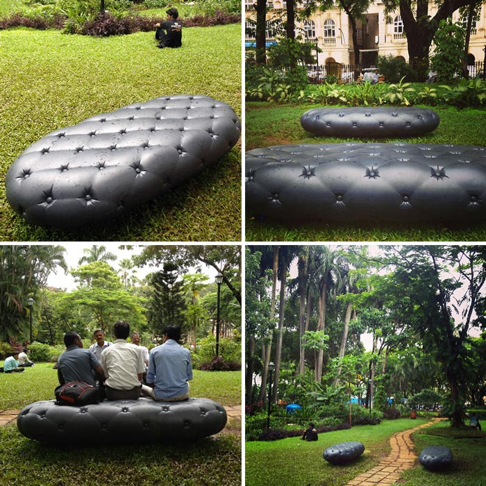 Water Bench in Mumbai by MARS Architects - A Bench Collecting and Storing Rainwater