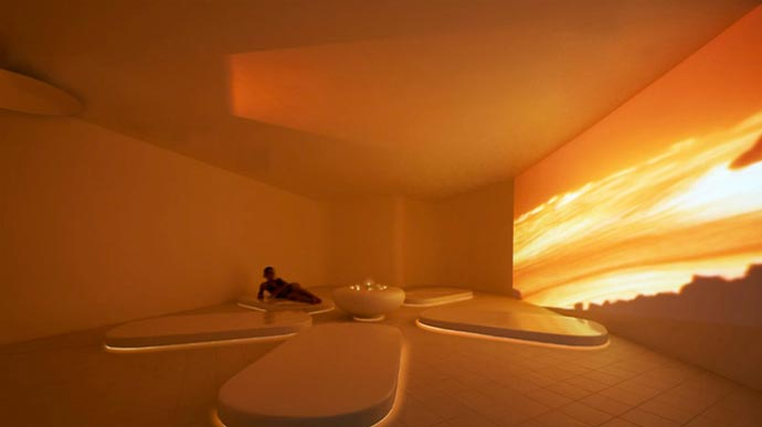 Inside a spa treament room at Aquagranda Livigno Aqua Experience