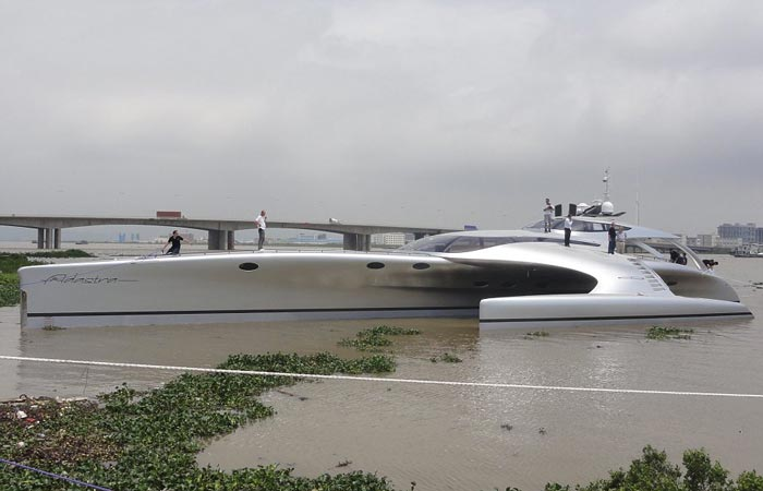 Side view of the Adastra Superyacht - A Trimaran by John Shuttleworth