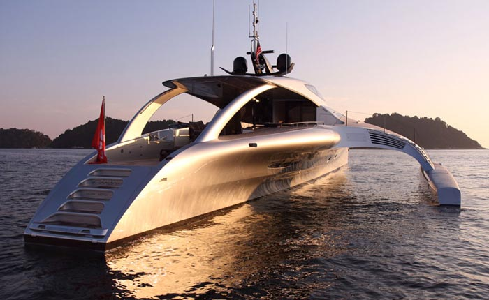 Rear view of Adastra Superyacht - A Trimaran by John Shuttleworth