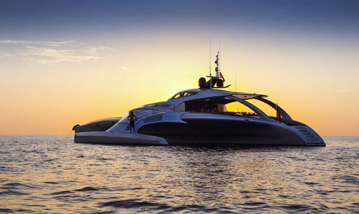 Side view of the Adastra Superyacht in the sunset