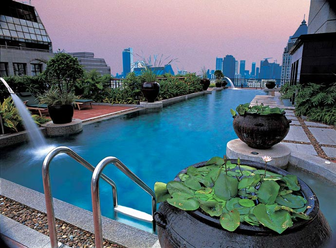 Swimming pool at Banyan Tree Hotel in Bangkok