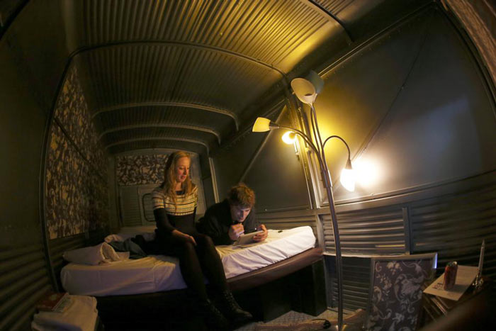 Interior design of a trailer at Basecamp Bonn Young Hostel in Germany