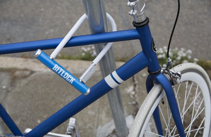 Bitlock keyless bicycle lock attached to a bicycle