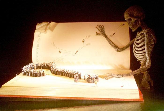 GIANT BOOK AND SKELETON AT BREGENZ FESTIVAL