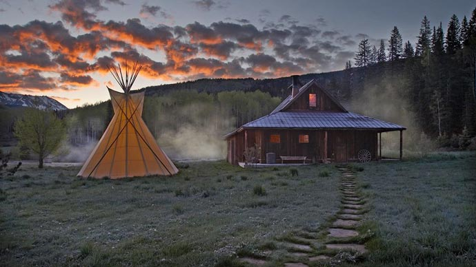 Tipi and lodge architecture at Dunton Hot Springs Resort in Colorado
