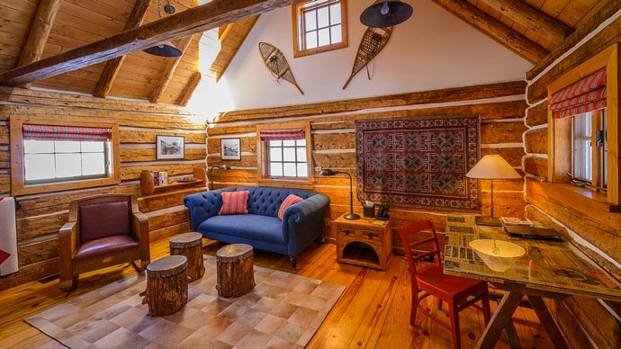 Interior decor of a lodge made of wood