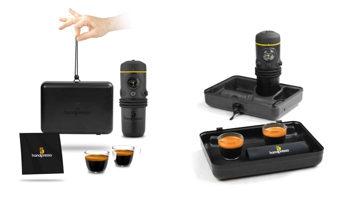 Handpresso Auto cups and carrying case and tray