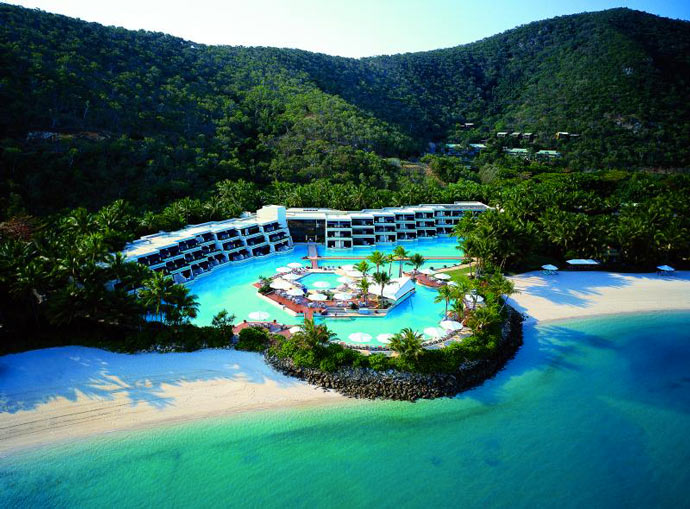 Aerial view of HAYMAN ISLAND RESORT in AUSTRALIA