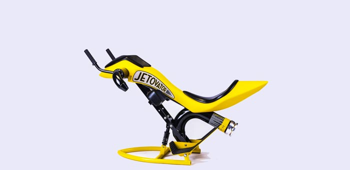 Yellow Jetovator Flying Water-Propelled Bike
