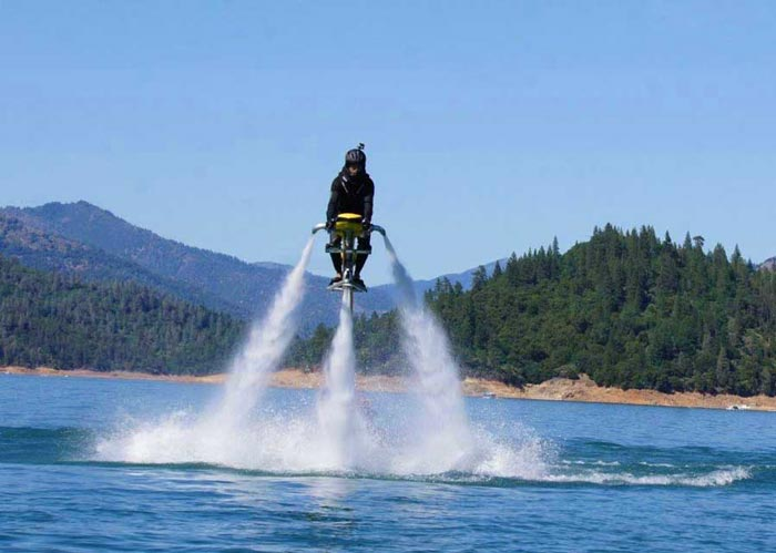 Man riding the Jetovator Flying Water-Propelled Bike