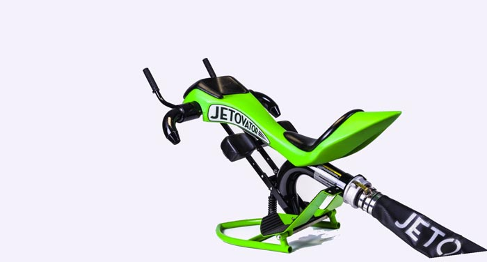 Green Jetovator Flying Water-Propelled Bike