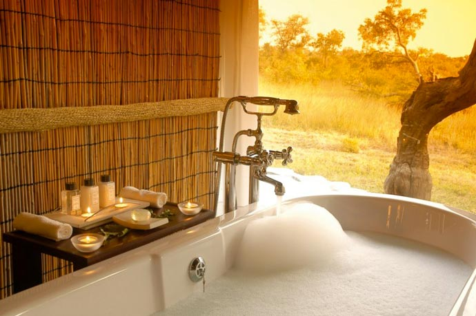 Bathtub with a view of the Sabi Sand Game Reserve at Leopard Hills