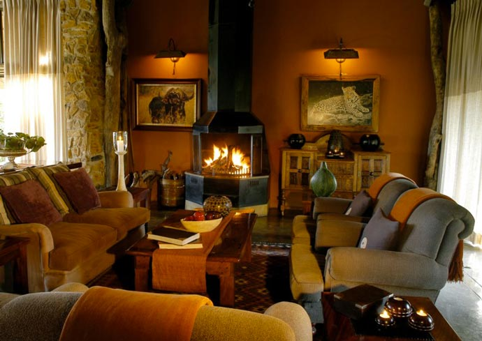 Interior design of a living room at Leopard Hills Lodge in South Africa
