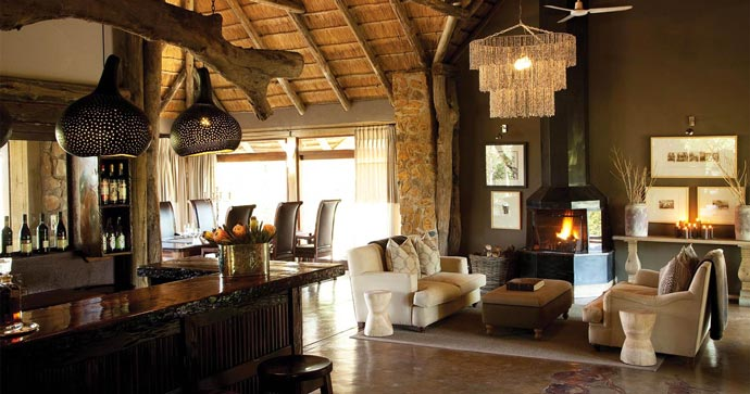 Interior decor of the lodge at Leopard Hills