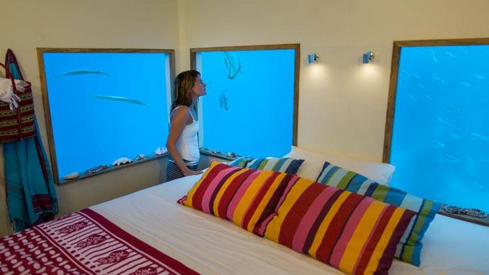 Interior design of the underwater room at Manta Resort in Zanzibar
