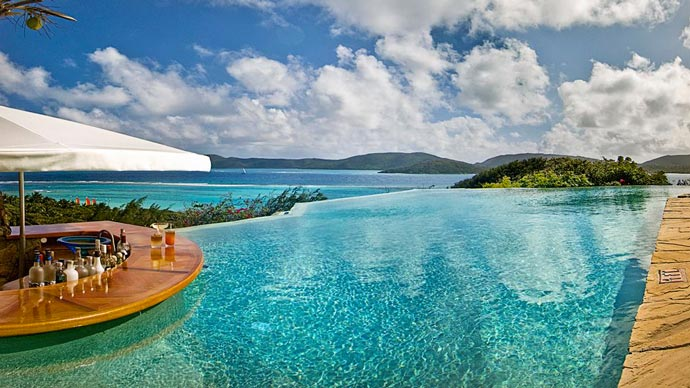 Infinity pool and bar at Necker Island
