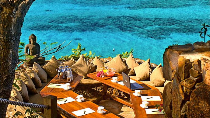 Dining and lounge table at Necker Island