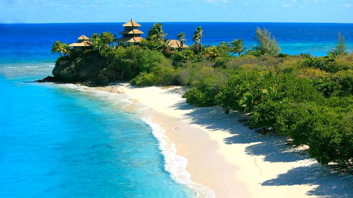 Aerial view of Necker Island