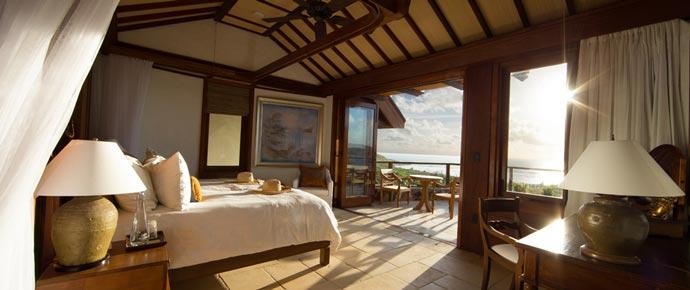 Bedroom decor at Necker Island private resort