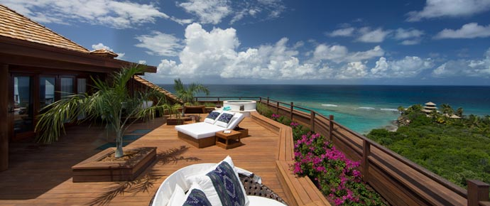 Patio with a view of the ocean at Necker Island