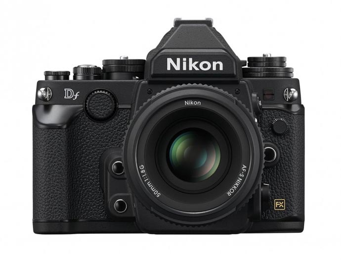 Front view of the lens and body of a black Nikon Df FX-Format Camera