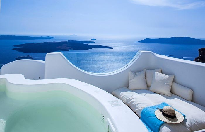 Hot tub with a scenery at Native Eco Villa in Santorini Greece