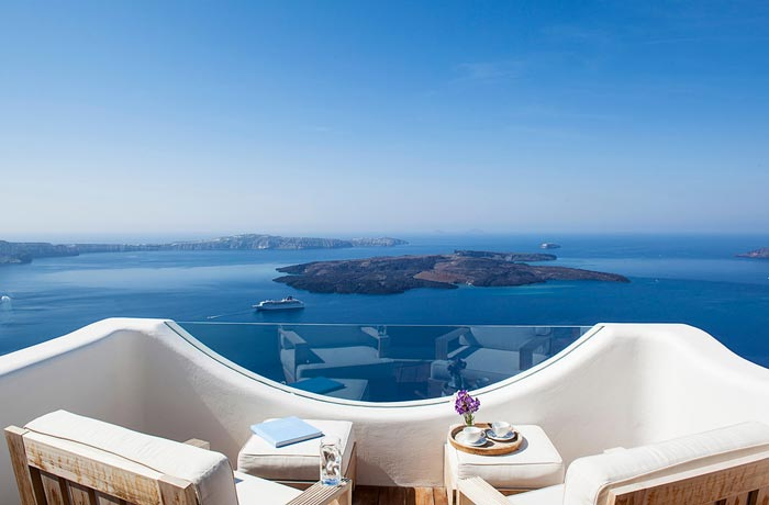 Patio with a scenery at Native Eco Villa in Santorini Greece