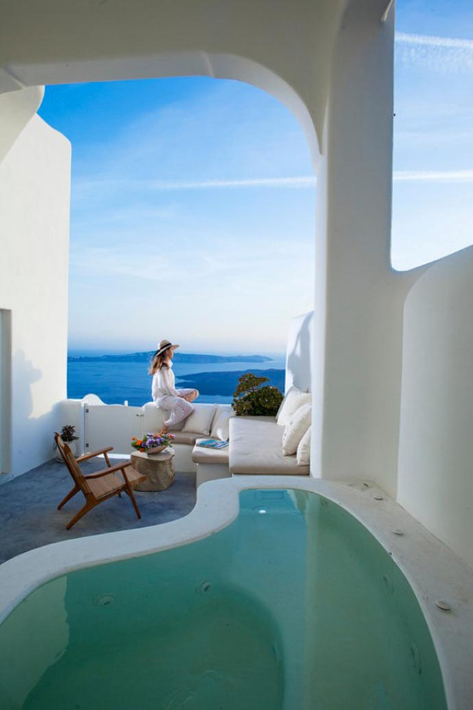 Indoor hot tub at Native Eco Villa in Santorini Greece