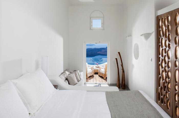 Interior design of a room at Native Eco Villa in Santorini Greece