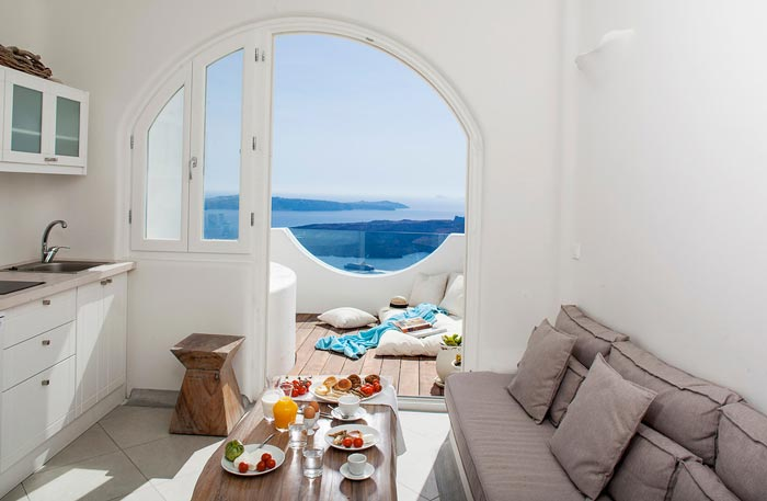 Interior decor of Native Eco Villa in Santorini Greece
