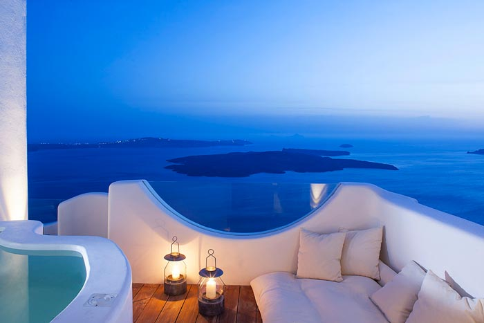 Scenery of the sea and mountains from Native Eco Villa in Santorini Greece