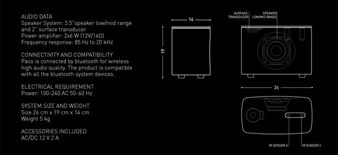 Technical specifications of the PACO Concrete Bluetooth Speaker - A Gestured Controlled Speaker