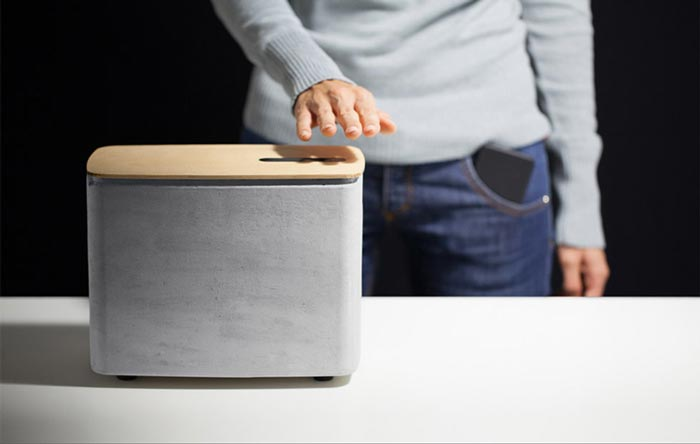 Gesture controlled PACO concrete speakers