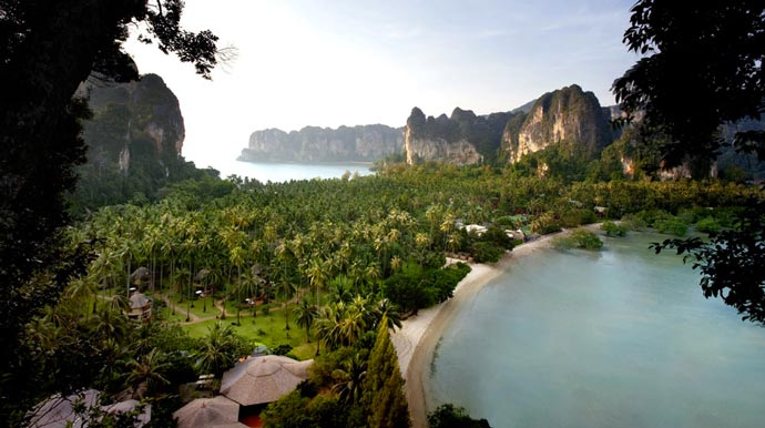 Aerial view of Rayavadee Resort in Krabi